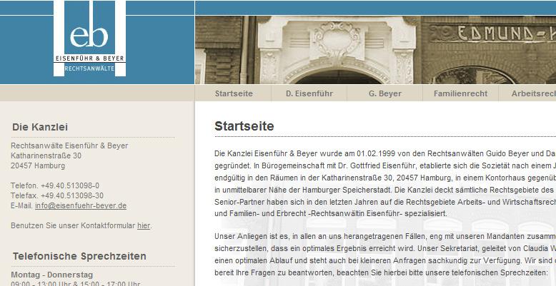 Kanzlei Eisenführ & Beyer mit neuer Homepage