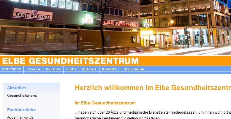 Homepage für das Elbe Gesundheitszentrum
