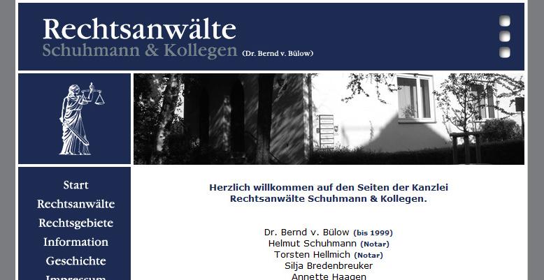 Homepage für Rechtsanwaltskanzlei Schuhmann & Kollegen